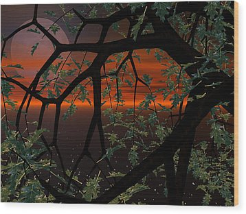Red Sky Wood Print by Michele Wilson