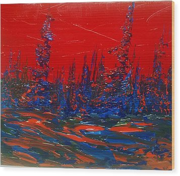 Red Sky Night Wood Print