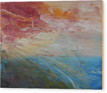 Wood Print featuring the painting Red Sky by Sandra Nardone