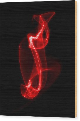 Red Smoke Wood Print by Matthew Angelo