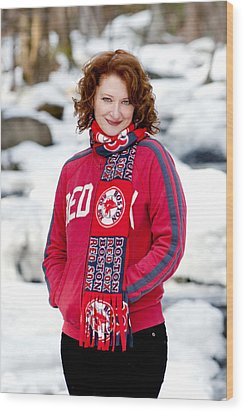 Red Sox Girl Wood Print by Greg Fortier