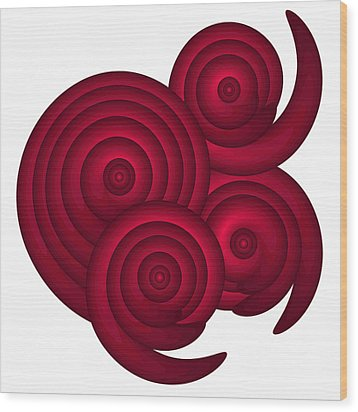 Red Spirals Wood Print by Frank Tschakert