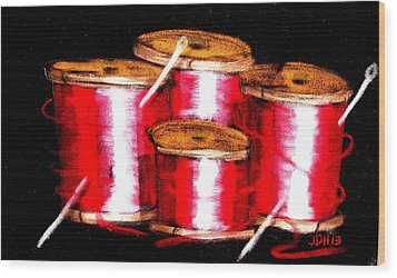 Red Spools 3 Wood Print by Joseph Hawkins