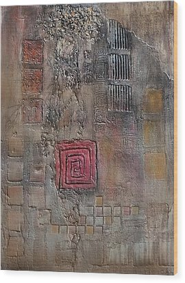 Wood Print featuring the mixed media Red Square by Buck Buchheister