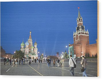 Red Square Wood Print by Gouzel -