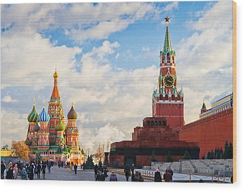 Red Square Of Moscow - Featured 3 Wood Print by Alexander Senin