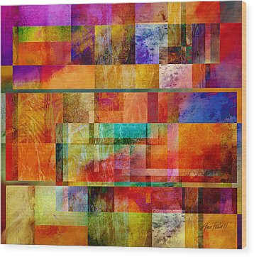 Red Squares Abstract Art Wood Print by Ann Powell