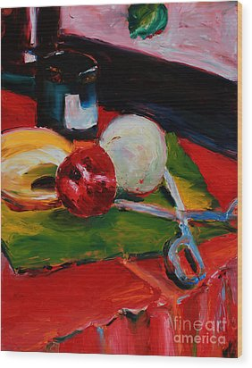 Red Still Life Wood Print by Janet Felts