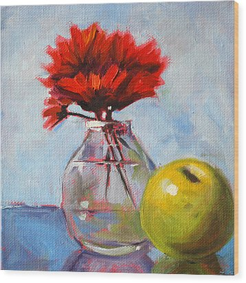 Red Still  Wood Print by Nancy Merkle