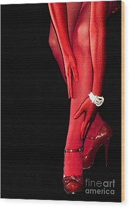 Red Stockings02 Wood Print by Svetlana Sewell