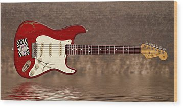 Red Strat 3 Wood Print by WB Johnston