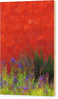 Red Stucco Wall Wood Print by Brian Davis