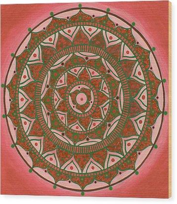 Red Sun Mandala Wood Print by Vlatka Kelc