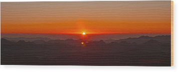 Wood Print featuring the pyrography Red Sunrise In Sinai Montains by Julis Simo