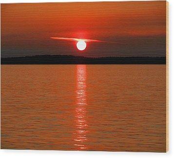 Wood Print featuring the photograph Red Sunset Over Bellingham Bay by Karen Molenaar Terrell