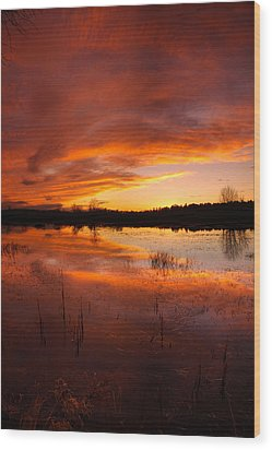 Red Sunset Over Massabesic Lake Wood Print by Sebastien Coursol