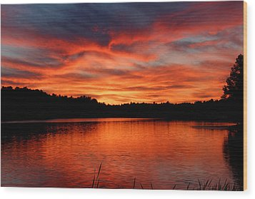 Red Sunset Reflections Wood Print by Denyse Duhaime
