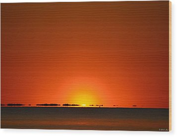 Wood Print featuring the photograph Red Sunset With Superior Mirage On Santa Rosa Sound by Jeff at JSJ Photography