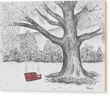 Red Swing Wood Print