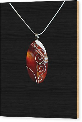 Red Swirl Agate Wood Print by Jan Brieger-Scranton