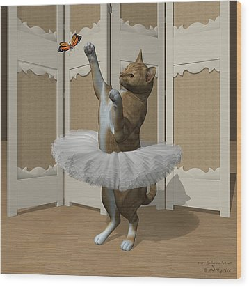 Red Tabby Ballet Cat On Paw-te Wood Print by Andre Price