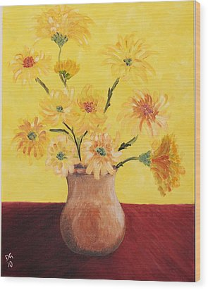 Red Table And Yellow Flowers Wood Print