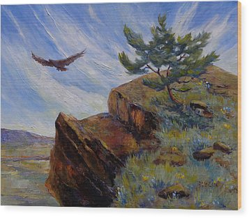 Red Tail Hawk Wood Print by Peggy Wilson