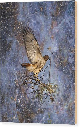 Wood Print featuring the digital art Red-tailed Hawk Applauding The Early Morning Sunrise by J Larry Walker