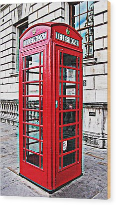 Red Telephone Box Call Box In London Wood Print by Tom Conway