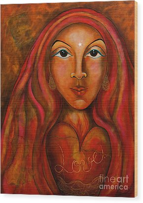 Red Thread Madonna Wood Print