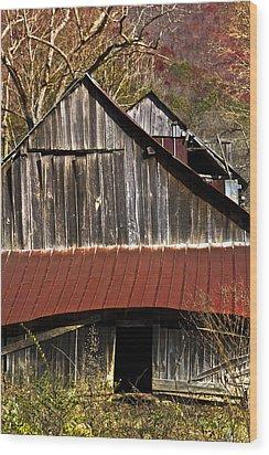 Red Tin Roof Wood Print by Debra and Dave Vanderlaan