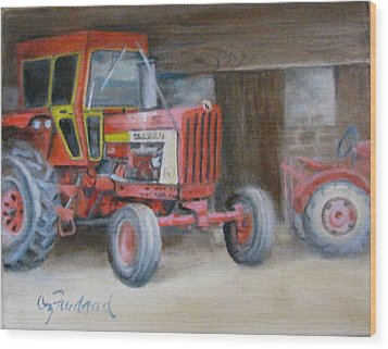 Red Tractor Wood Print by Oz Freedgood