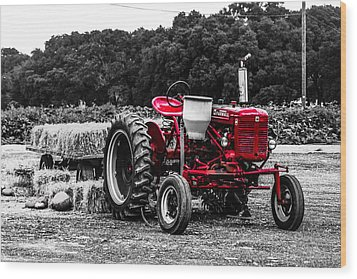 Red Tractor Wood Print by Steven  Taylor