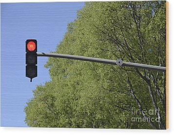 Red Traffic Light By Trees Wood Print by Sami Sarkis