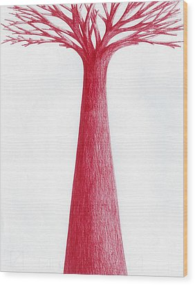 Wood Print featuring the drawing Red Tree by Giuseppe Epifani