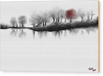 Wood Print featuring the digital art Red Tree by Jessica Wright
