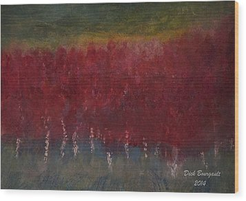Red Trees Watercolor Wood Print by Dick Bourgault