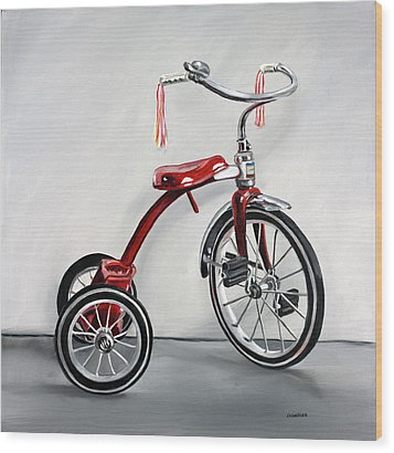 Wood Print featuring the painting Red Tricycle 1 by Gail Chandler