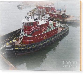 Wood Print featuring the photograph Red Tugboat by Kristine Nora