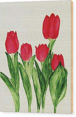Red Tulips Wood Print by Anastasiya Malakhova
