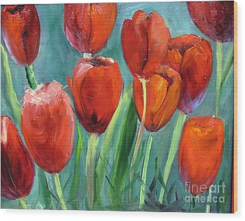 Red Tulips By Barbara Haviland Wood Print