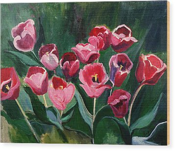 Wood Print featuring the painting Red Tulips In A Baker's Dozen by Betty Pieper