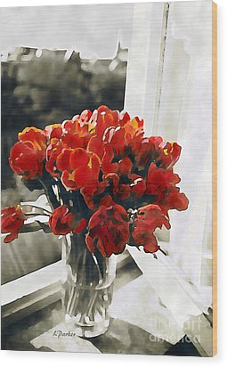 Red Tulips In Window Wood Print by Linda  Parker