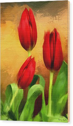 Red Tulips Triptych Section 2 Wood Print by Lourry Legarde