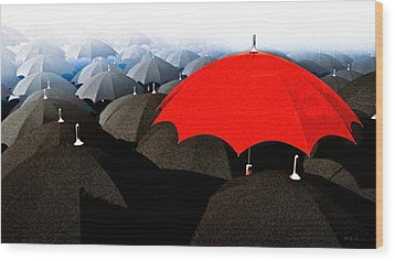 Red Umbrella In The City Wood Print by Bob Orsillo
