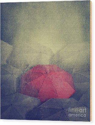 Red Umbrella Wood Print by Jelena Jovanovic