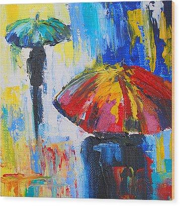 Red Umbrella Wood Print by Susi Franco