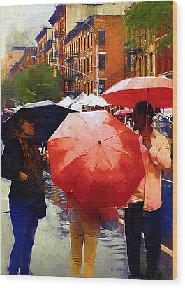 Red Umbrellas In The Rain Wood Print by RC deWinter