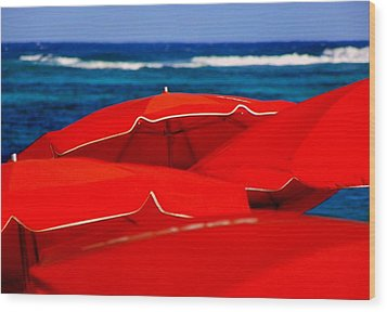 Red Umbrellas  Wood Print by Karen Wiles