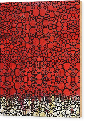Red Valley - Abstract Landscape Stone Rock'd Art Wood Print by Sharon Cummings